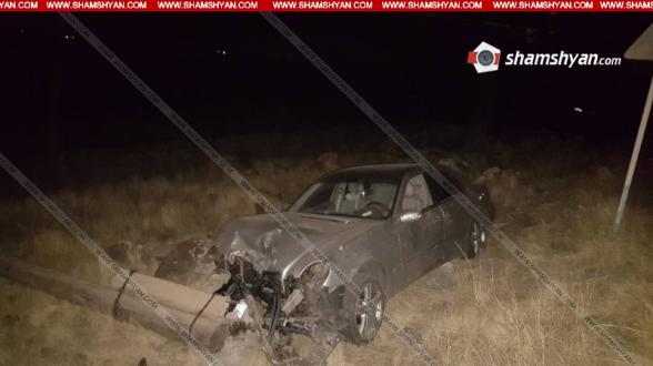 Կոտայքի մարզում 33-ամյա վարորդը Mercedes-ով տապալել է էլեկտրասյունը և հայտնվել ձորակում. ՍՊԸ հաշվապահն ու խոհարարը տեղափոխվել են հիվանդանոց