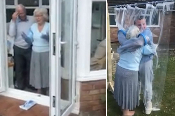 Внук смог обнять бабушку в пандемию с помощью костюма-«пузыря»