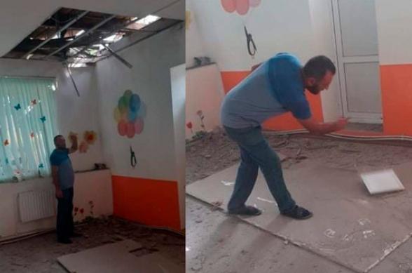 Под обстрел ВС Азербайджана попал детсад в приграничном Айгепаре (фото)