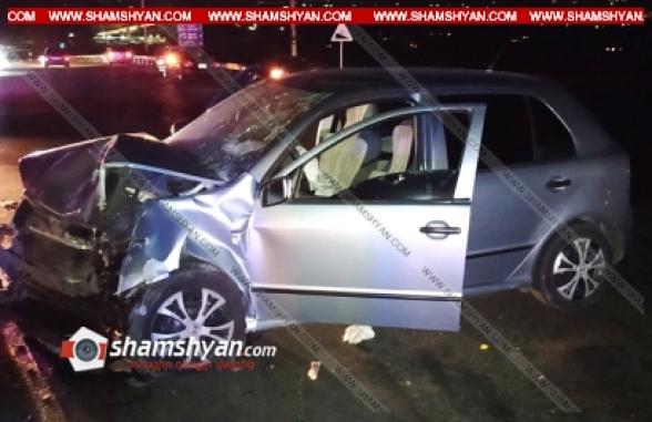 Ավտովթար՝ Կոտայքում. Աբովյան-Նոր Հաճն ավտոճանապարհի կամրջի վրա բախվել են Skoda և Ford մակնիշի ավտոմեքենաներ, 5 մարդ հոսպիտալացվել է