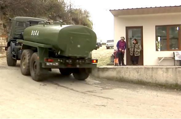 Ռուս խաղաղապահները խմելու ջուր են հասցրել Լեռնային Ղարաբաղի բարձր լեռնային գյուղերի բնակիչներին