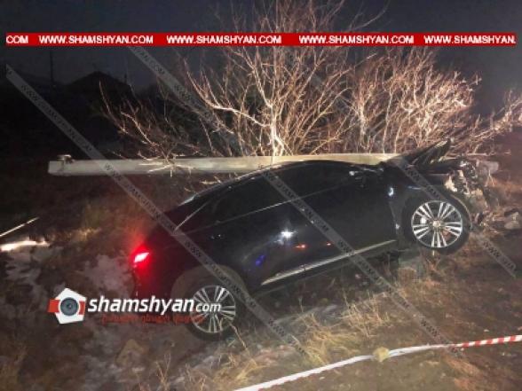 Արագածոտնի մարզում 31-ամյա վարորդը Lexus-ով բախվել է բետոնե էլեկտրասյանը, կոտրել այն. հաջորդ օրը նա դիմել է հիվանդանոց