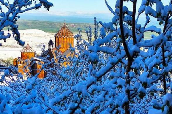 В Шираке выпал снег (фото)