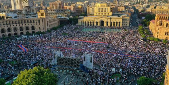 Կադրեր երկնքից. «Հայաստան» դաշինքի եզրափակիչ հանրահավաքը