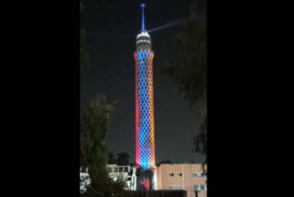 Башня в Каире осветилась цветами армянского флага